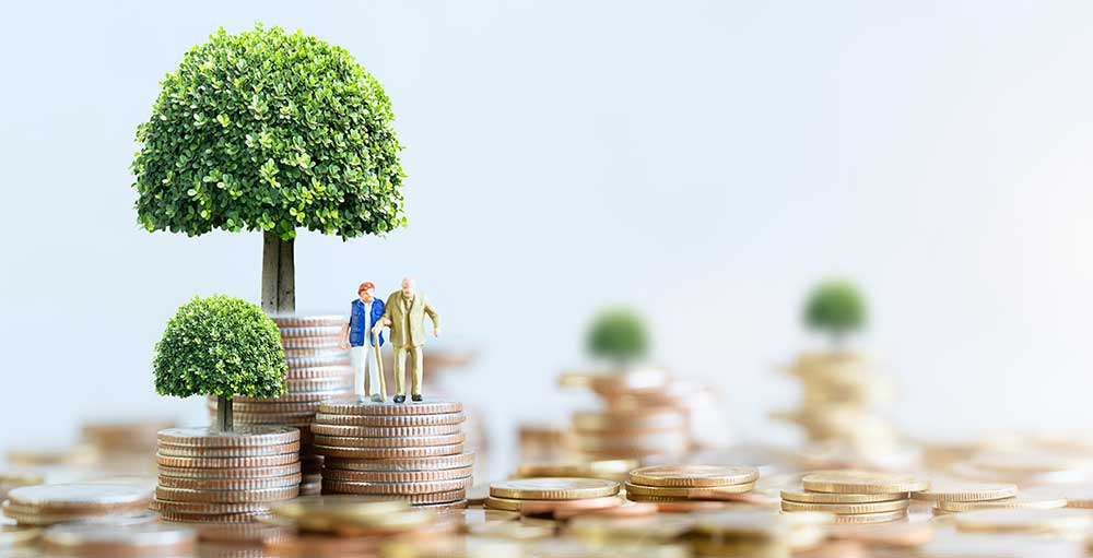 Our Niche: old couple on stacks of money